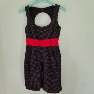 B. DARLIN BLACK DRESS W/WHITE DOTS & RED BOW